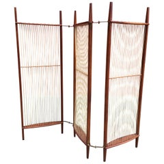 Walnut and String Folding Screen