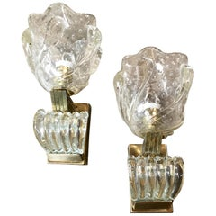 Pair of Italian Murano Art Deco Wall Lights by Ercole Barovier, 1930s
