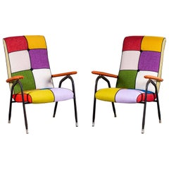 Pair of Vintage Italian Metal Upholstered Chairs, circa 1970