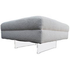 Tufted Ottoman with Lucite Legs