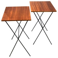 Pair of Atomic Age Mid-Century Modern Petite Folding TV Tray Tables