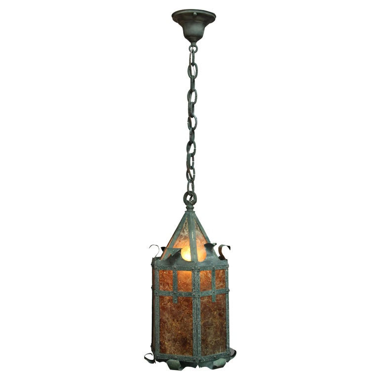 1920s Hanging Tudor Arts & Crafts Lantern with Mica