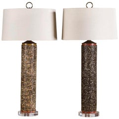 Pair of Marbro Style Vintage Wallpaper Roller Lamps circa 1940 Lucite Base