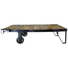 1930s Cast Iron Rolling Industrial Cart Pallet Table