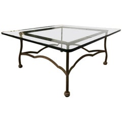 Iron and Glass Top Square Coffee Table
