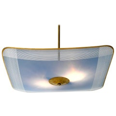 Rare Large Mid-Century Modern Brass Ceiling Lamp with Blue Glass