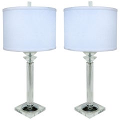 Lucite, Chrome and Glass Table Lamps by the Bauer Lamp Company Dated 1993