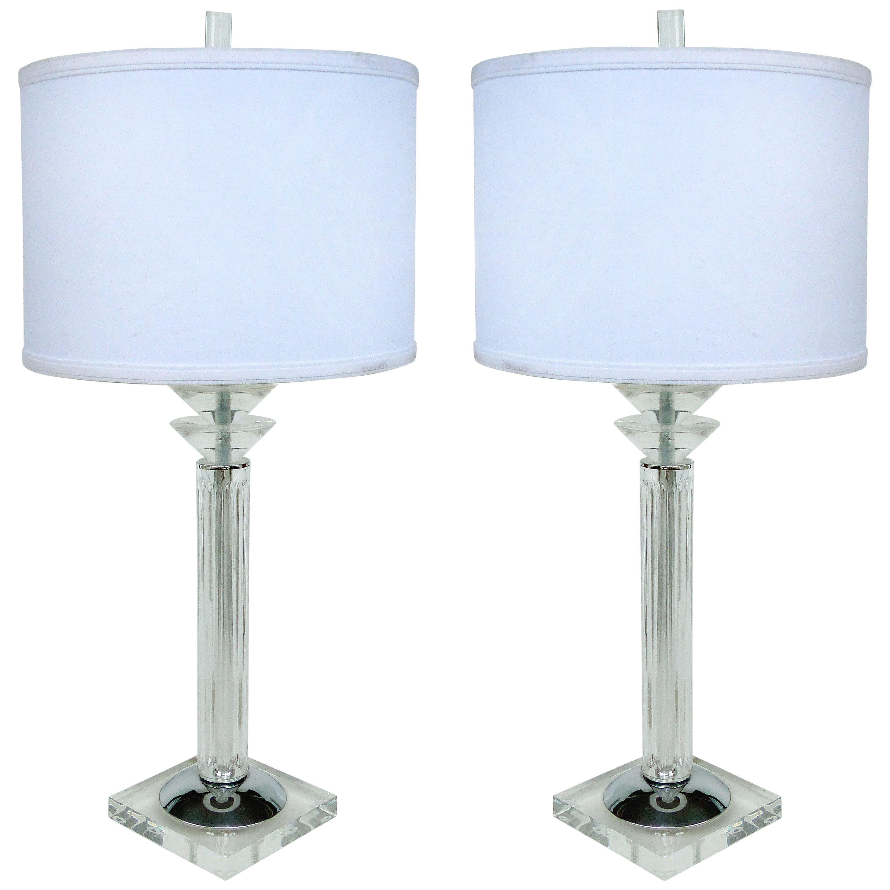 Bauer Lamp Company Lucite, Chrome and Glass Table Lamps, 1993