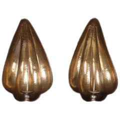 Pair of Large Brass Sea Shell Sconces