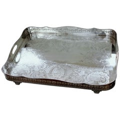 English Silver Plate Pierced Border Rectangular Gallery Tray, Ellis Silver Co.