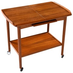 Danish Teak Expandable Bar Cart by Dyrlund