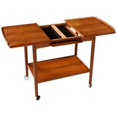 Danish Teak Expandable Rolling Bar Cart by Dyrlund, Scandinavian Modern