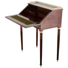 Mahogany and Brass Drop-Front Desk