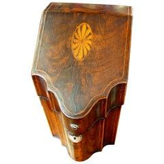 Antique English George III Inlaid Flame Mahogany Serpentine Knife/Stationery Box