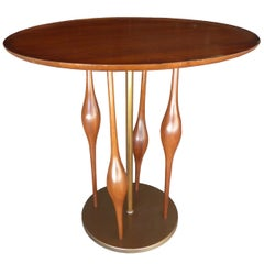 Walnut and Brass Side Table Attributed to Modeline of California