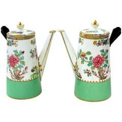 "Pair of Copeland 'Spode' Porcelain ""Peacock and Peony"" Cafe' au Lait Pots"