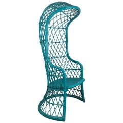 Unusual Modernist Hooded Canopy Wicker Chair