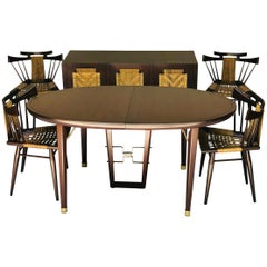 1950s Edmond Spence, Six Piece Mahogany Dinning Set by Industrial Mueblera