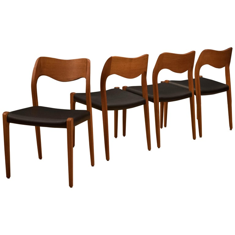Set of Four Danish Teak Niels Moller Dining Chairs