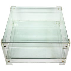 Vintage Lucite and Glass Coffee Table, 1970s