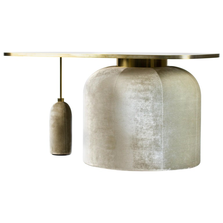 EGG Cocktail Side Table in Chromed or Patinated Brass and Velvet For Sale