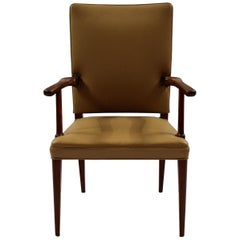 Armchair in Mahogany and Light Leather by Jacob Kjær from the 1950s