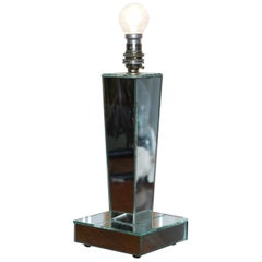 Lovely Italian Venetian Mirrored Glass Lamp with Braided Cable Distressed Glass