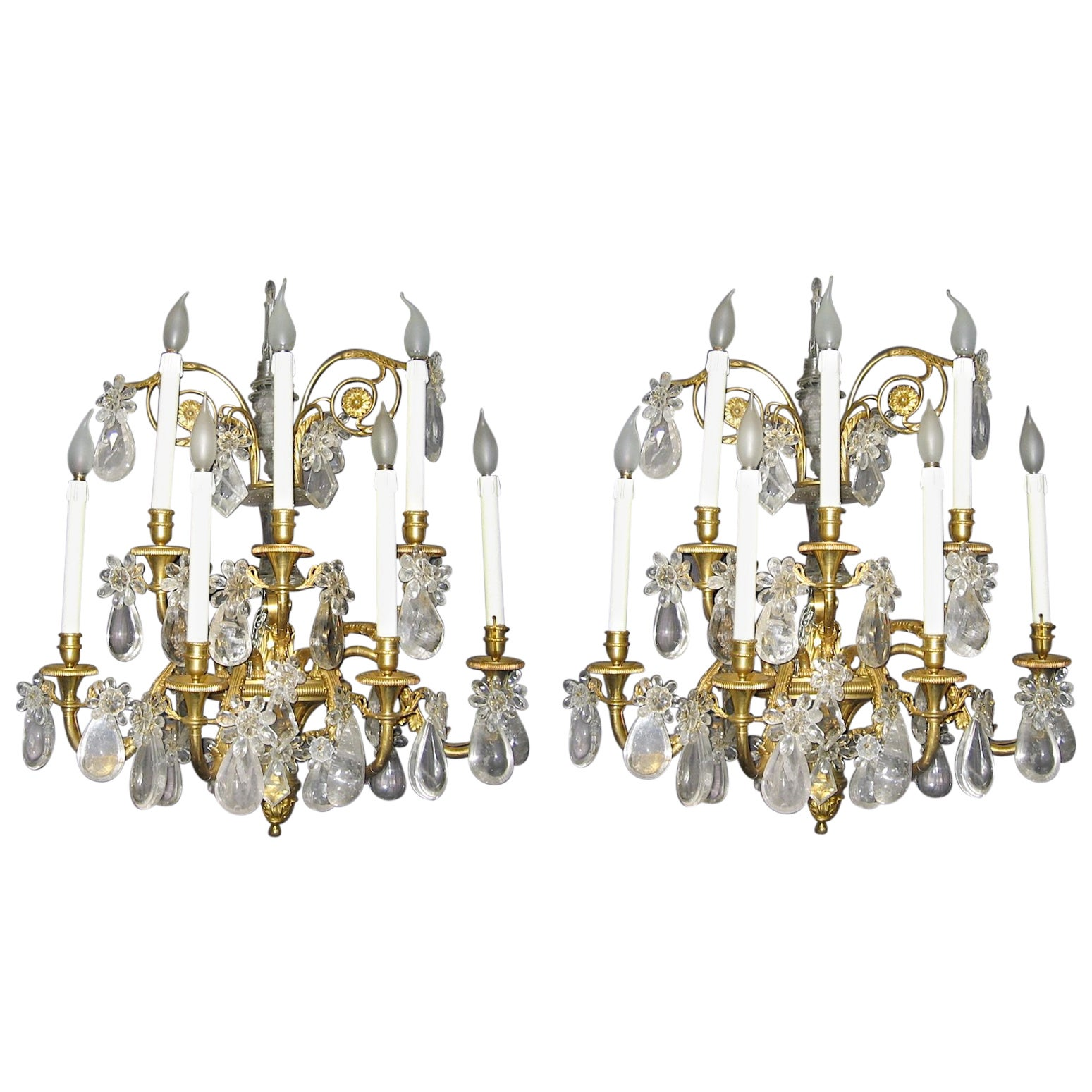 Pair of French Gilt Bronze and Rock Crystal Wall Lights or Sconces Neoclassical