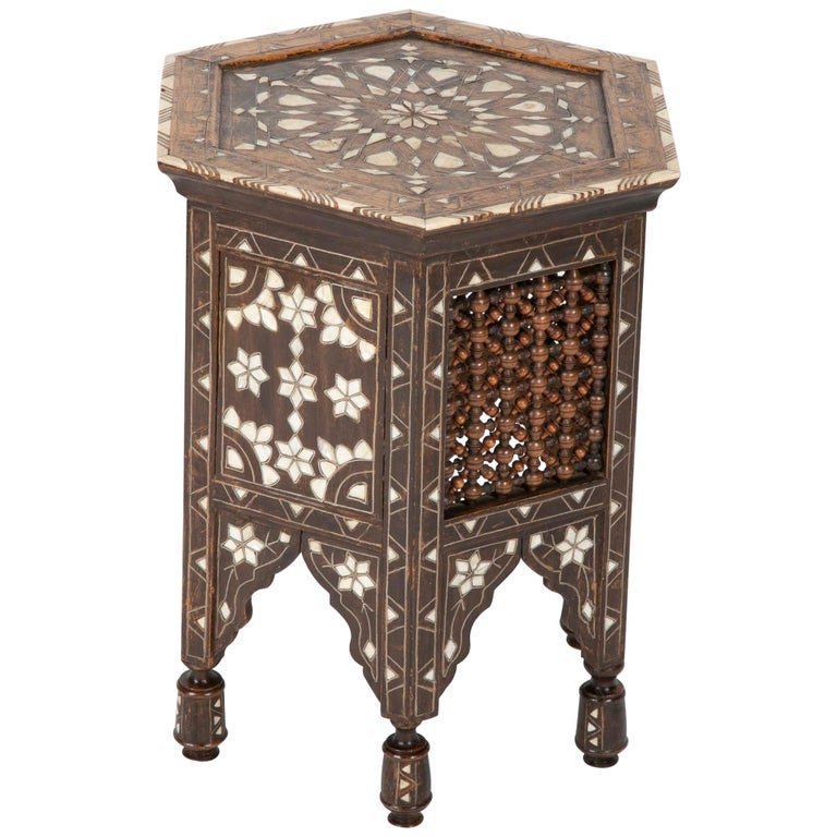 Ottoman Mother-of-Pearl and Bone Inlaid Side Table For Sale