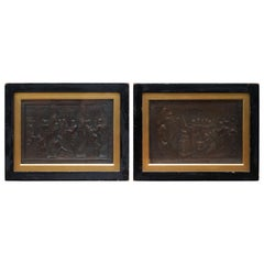 Pair of Rare 1821 Dated John Henning After Raphael Grand Tour Bronze Plaques