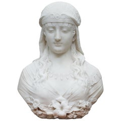 Stunning Large Italian 19th Century White Marble Bust of a Maiden Classic Pose