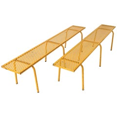 Pair of Yellow Benches, Attributed to René Malaval, circa 1950, France