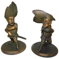 Pair of Francois George Candlesticks France Musketeers