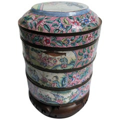 Canton Enamel Three-Part Jar on Stand