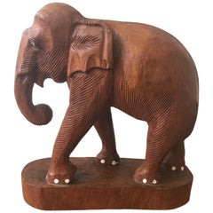 Large Carved Wood Elephant Sculpture