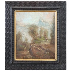 20th Century Italian Oil Painting on Cardboard by Luigi Bosio, 1920s
