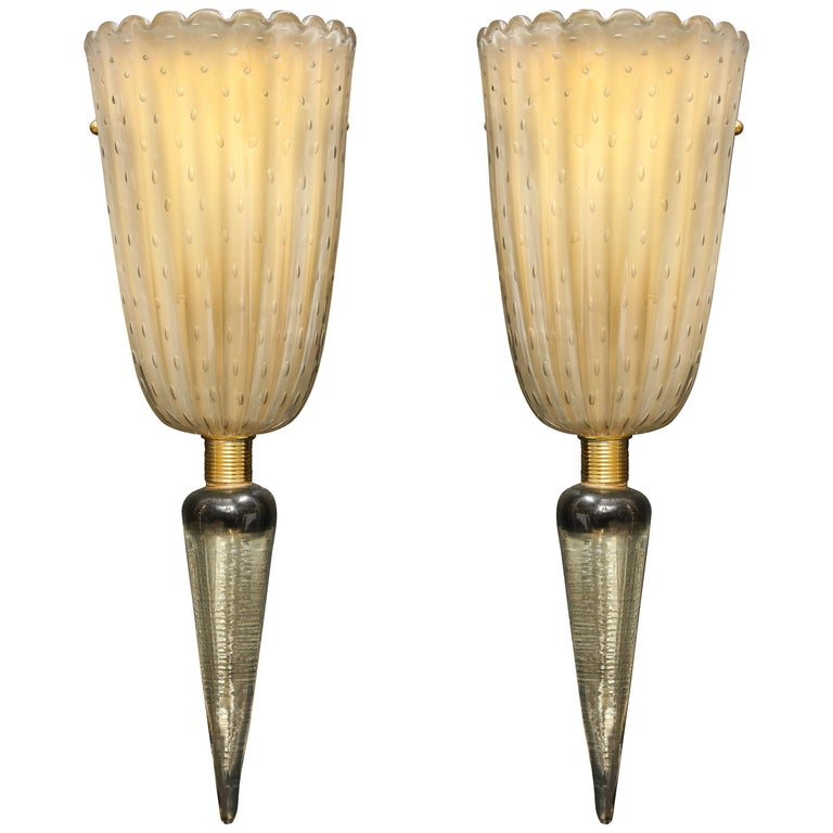 "Pair of Smoked ""Pulegoso"" Murano Glass and Brass Sconces, Italy"
