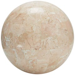 Large Tessellated Peach Stone Sphere - 10.5 in. Diameter