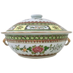 20th Century Chinese Export Hand-Painted Porcelain Enamel & Gold Lidded Tureen