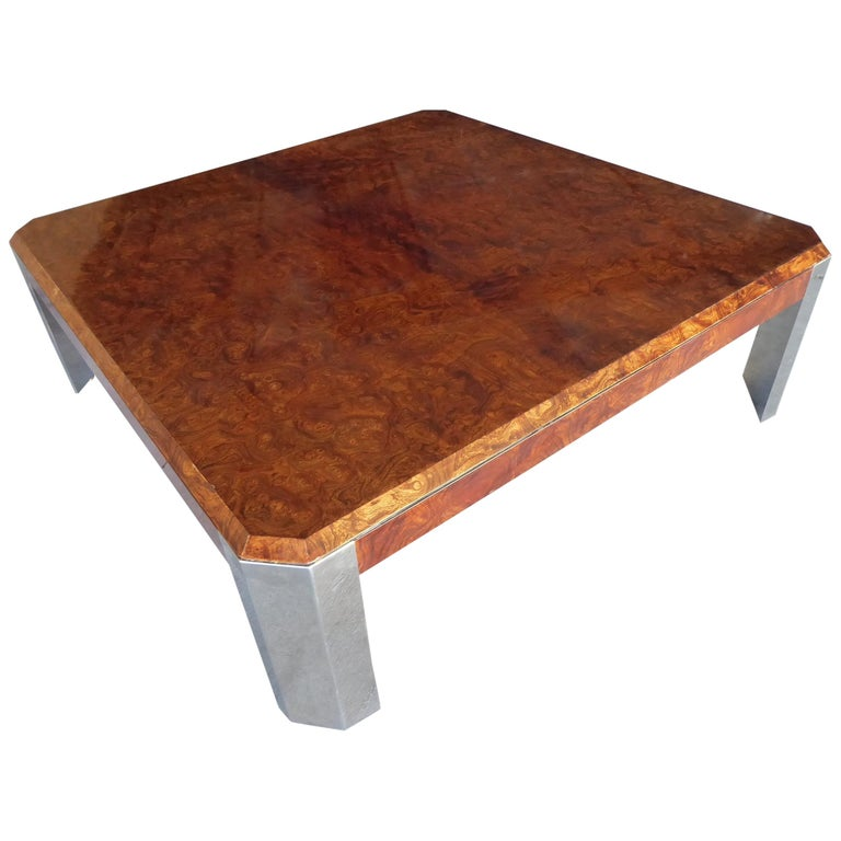 Burled Walnut and Chromed Steel Coffee Table Designed by Leon Rosen for Pace For Sale
