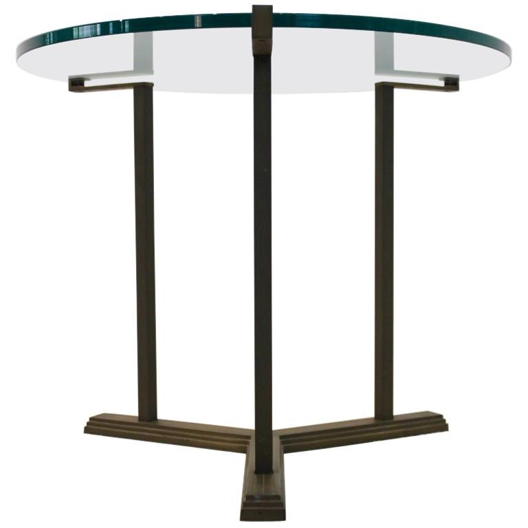 Sophisticated Peter Ghyczy Brass and Glass Side Table