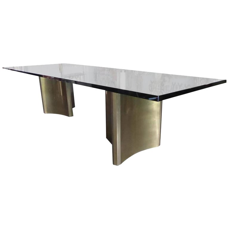 Pair Of BrassPlated Steel Trilobi Table Bases By Mastercraft For - Conference table bases metal
