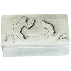 """Bathers,"" Rare Covered Box with Nude Male Figures by Stewart, circa 1951"