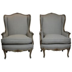 Pair of Louis XV Style Wingback Chairs