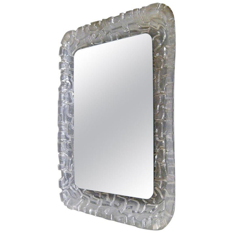 Midcentury Illuminated Wall Mirror and Wall Light by Erco Lucite