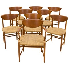 Set of Nine Danish Teak Dining Chairs by Peter Hvidt