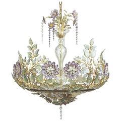 1950s Parisian Floral Crystal Chandelier by Maison Baguès