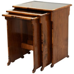 1930s Art Deco Figured Walnut and Mirrored Nest of Three Tables