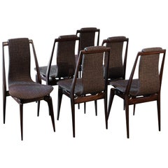 Set of Six Mahogany Dining Chairs, Black/Brown Jacquard Fabric, Italy, 1950s