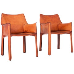Mario Bellini Cognac Leather Cab Armchairs for Cassina